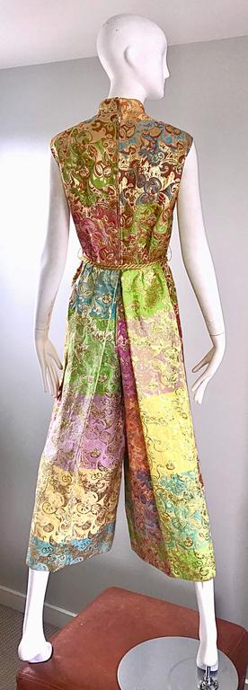 Women's Joseph Magnin 1970s Colorful Silk Brocade Palazzo Leg Vintage Cropped Jumpsuit For Sale