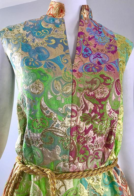 Joseph Magnin 1970s Colorful Silk Brocade Palazzo Leg Vintage Cropped Jumpsuit 6