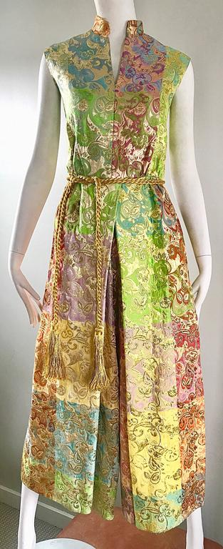 Joseph Magnin 1970s Colorful Silk Brocade Palazzo Leg Vintage Cropped Jumpsuit 7