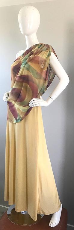 Women's 1970s Joy Stevens One Shoulder Gold Grecian Inspired 70s Vintage Gown Maxi Dress For Sale