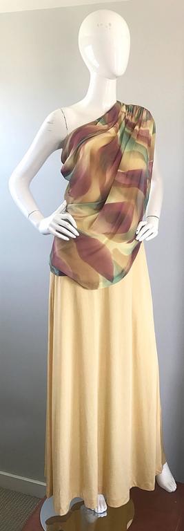1970s Joy Stevens One Shoulder Gold Grecian Inspired 70s Vintage Gown Maxi Dress For Sale 1