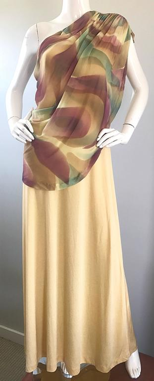 1970s Joy Stevens One Shoulder Gold Grecian Inspired 70s Vintage Gown Maxi Dress For Sale 3