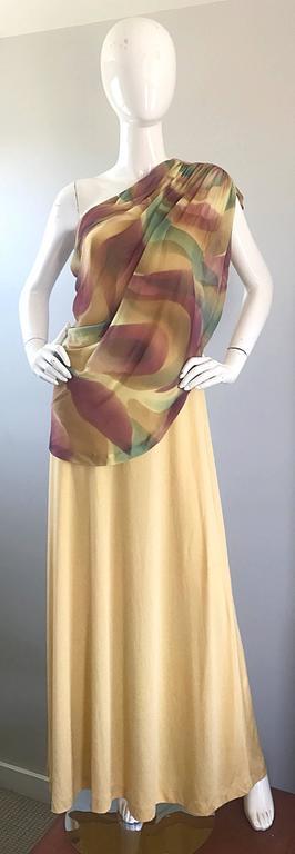 1970s Joy Stevens One Shoulder Gold Grecian Inspired 70s Vintage Gown Maxi Dress For Sale 5