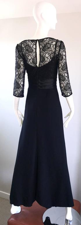 Beautiful 1990s Badgley Mischka Black Lace 3/4 Sleeves Size 8 Vintage Gown  5