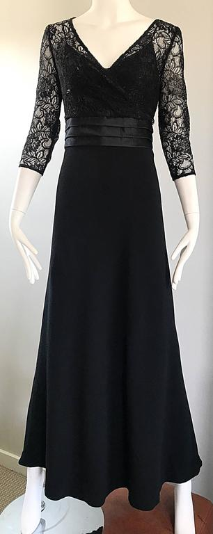 Beautiful 1990s Badgley Mischka Black Lace 3/4 Sleeves Size 8 Vintage Gown  6