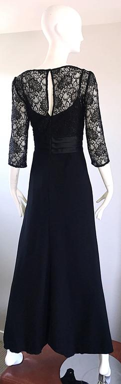 Beautiful 1990s Badgley Mischka Black Lace 3/4 Sleeves Size 8 Vintage Gown  8