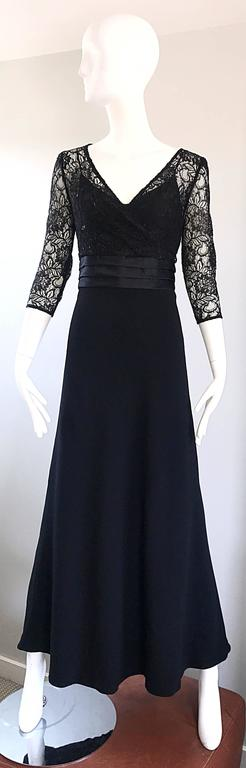 Beautiful 1990s Badgley Mischka Black Lace 3/4 Sleeves Size 8 Vintage Gown  9