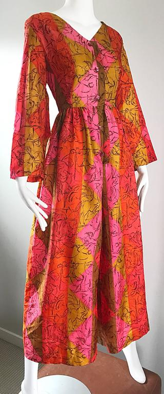 AMazing 1970s Long Sleeve Wide Leg Culottes Palazzo Leg Vintage 70s Jumpsuit  In Excellent Condition For Sale In San Francisco, CA