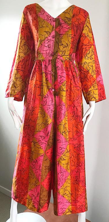 AMazing 1970s Long Sleeve Wide Leg Culottes Palazzo Leg Vintage 70s Jumpsuit  For Sale 1