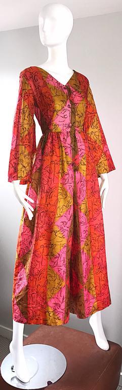 AMazing 1970s Long Sleeve Wide Leg Culottes Palazzo Leg Vintage 70s Jumpsuit  For Sale 2