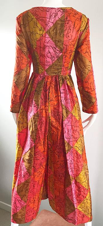 AMazing 1970s Long Sleeve Wide Leg Culottes Palazzo Leg Vintage 70s Jumpsuit  For Sale 3