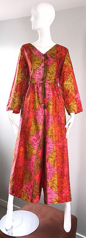 AMazing 1970s Long Sleeve Wide Leg Culottes Palazzo Leg Vintage 70s Jumpsuit  For Sale 5