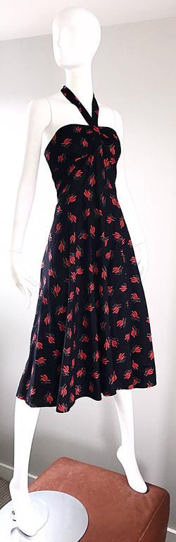 Women's Vintage Guy Laroche Size 44 Black + Red Oriental Themed Cotton Halter Sun Dress  For Sale