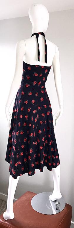 Vintage Guy Laroche Size 44 Black + Red Oriental Themed Cotton Halter Sun Dress  For Sale 1