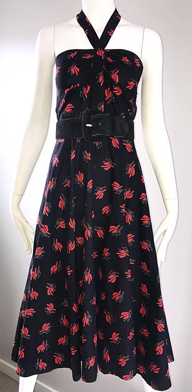 Vintage Guy Laroche Size 44 Black + Red Oriental Themed Cotton Halter Sun Dress  For Sale 2