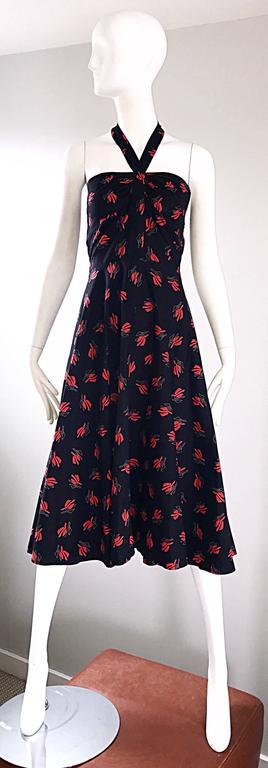 Vintage Guy Laroche Size 44 Black + Red Oriental Themed Cotton Halter Sun Dress  For Sale 5