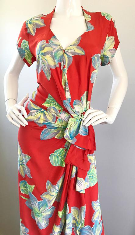 Gorgeous 1930s Cold Silk Burnt Orange Hawaiian Vintage 30s