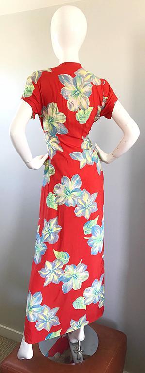 Gorgeous 1930s Cold Silk Burnt Orange Hawaiian Vintage 30s