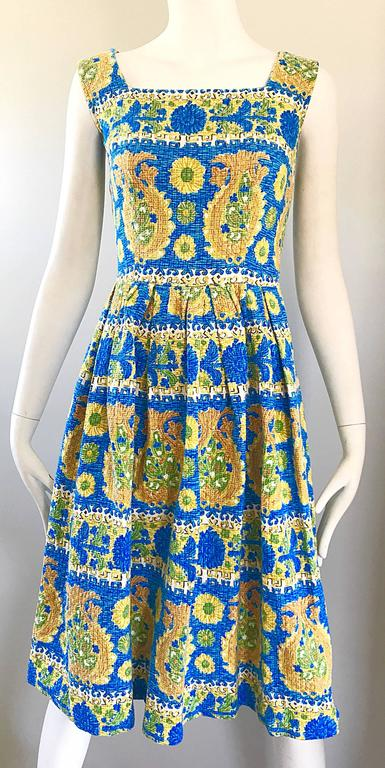 1950s Baumwolle Beautiful Blue Yellow Vintage 50s
