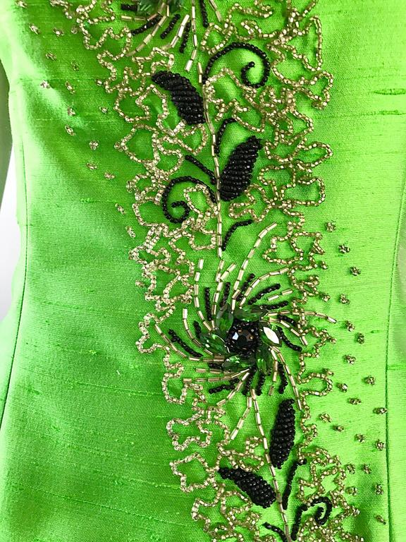 4c7fdbff25a93 Stunning 1950s green raw silk shantung couture beaded top! Features  hundreds of hand-sewn