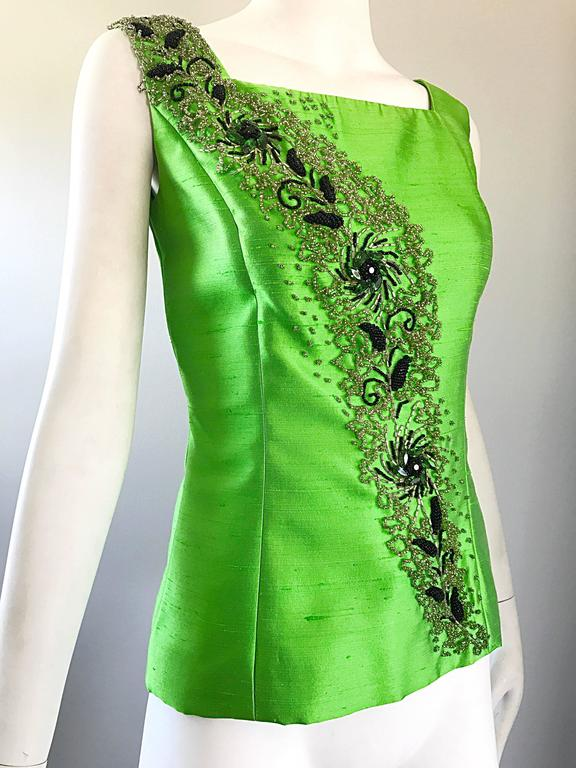 gorgeous 1950s green silk shantung beaded crystal couture sleeveless blouse top for sale at 1stdibs