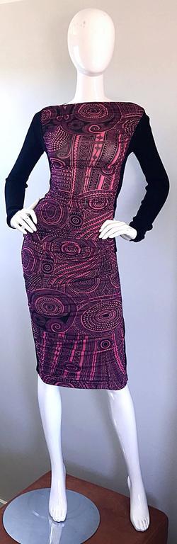 Vintage Jean Paul Gaultier 1990s Pink + Black Aztec Top & Skirt Dress Ensemble 3