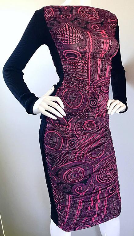 Vintage Jean Paul Gaultier 1990s Pink + Black Aztec Top & Skirt Dress Ensemble 4