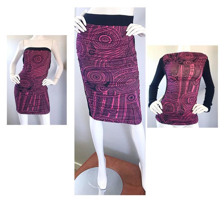 Vintage Jean Paul Gaultier 1990s Pink + Black Aztec Top & Skirt Dress Ensemble 5