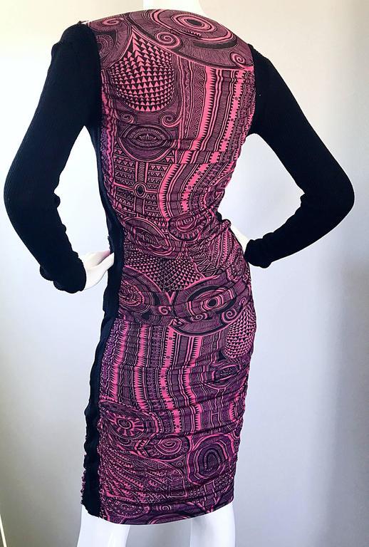 Vintage Jean Paul Gaultier 1990s Pink + Black Aztec Top & Skirt Dress Ensemble 6
