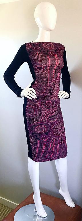 Vintage Jean Paul Gaultier 1990s Pink + Black Aztec Top & Skirt Dress Ensemble 7