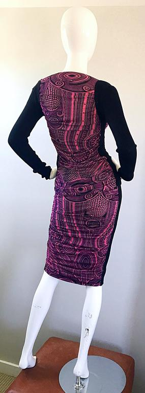 Vintage Jean Paul Gaultier 1990s Pink + Black Aztec Top & Skirt Dress Ensemble 8