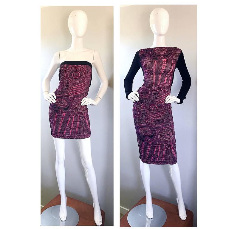 Vintage Jean Paul Gaultier 1990s Pink + Black Aztec Top & Skirt Dress Ensemble 9