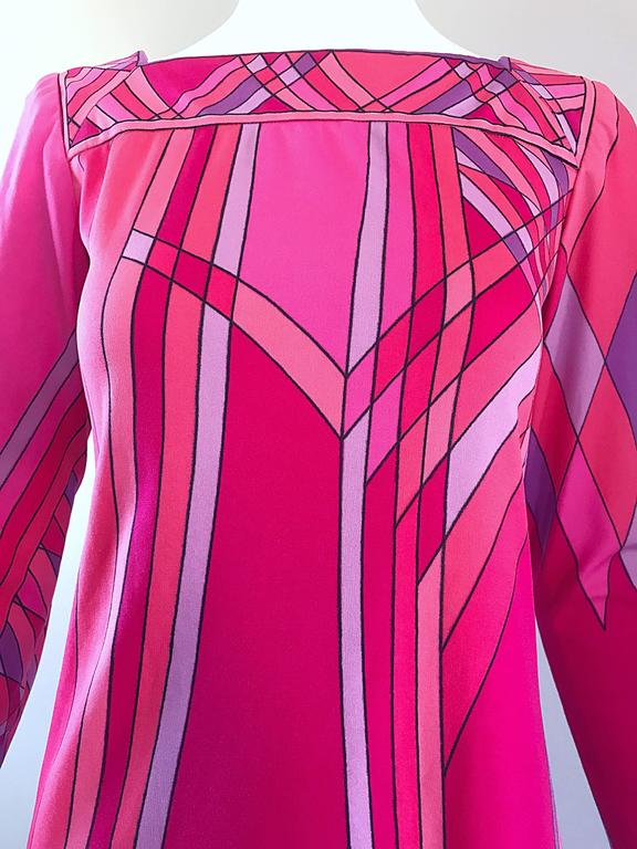 Red 1960s Nat Caplan Couture Hot Pink + Purple Geometric Mosaic A Line Shift Dress For Sale