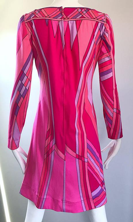 1960s Nat Caplan Couture Hot Pink + Purple Geometric Mosaic A Line Shift Dress In Excellent Condition For Sale In Chicago, IL