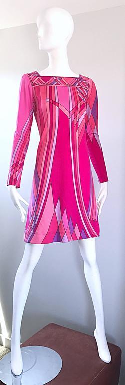 Women's 1960s Nat Caplan Couture Hot Pink + Purple Geometric Mosaic A Line Shift Dress For Sale