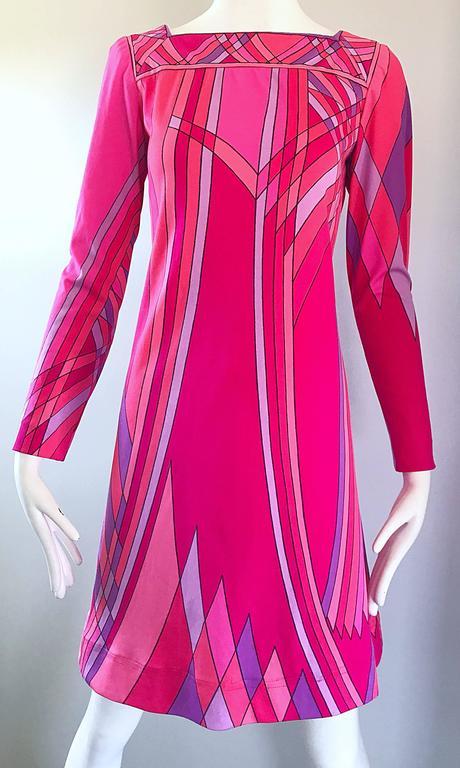 1960s Nat Caplan Couture Hot Pink + Purple Geometric Mosaic A Line Shift Dress For Sale 3