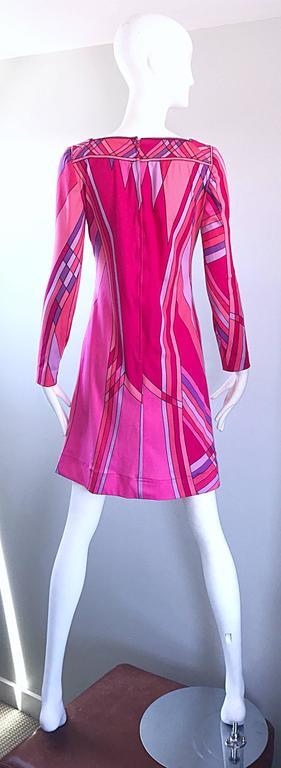 1960s Nat Caplan Couture Hot Pink + Purple Geometric Mosaic A Line Shift Dress For Sale 2