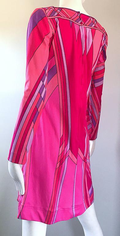 1960s Nat Caplan Couture Hot Pink + Purple Geometric Mosaic A Line Shift Dress For Sale 4