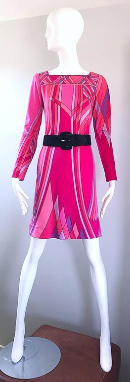 1960s Nat Caplan Couture Hot Pink + Purple Geometric Mosaic A Line Shift Dress For Sale 5