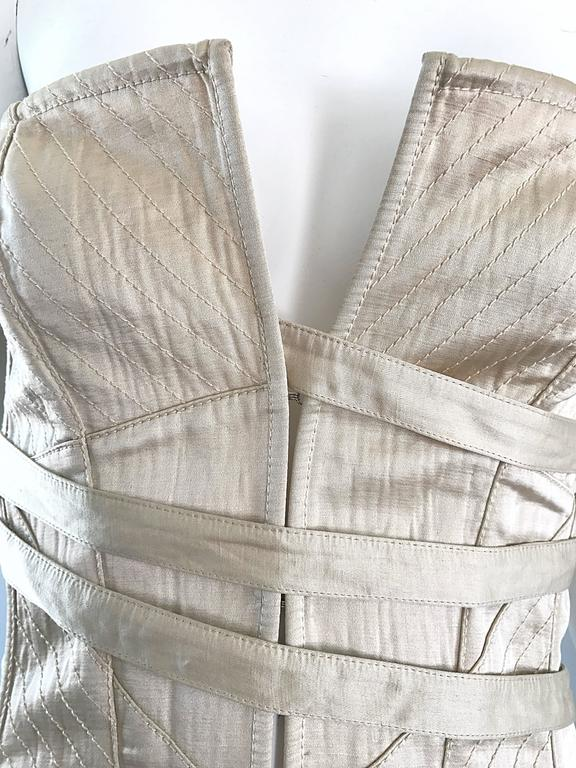 Beige NWT La Perla 1990s Champagne Silk Vintage 90s Quilted Bustier Corset Top For Sale