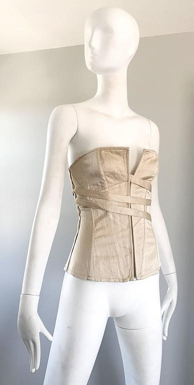 NWT La Perla 1990s Champagne Silk Vintage 90s Quilted Bustier Corset Top In New never worn Condition For Sale In San Francisco, CA