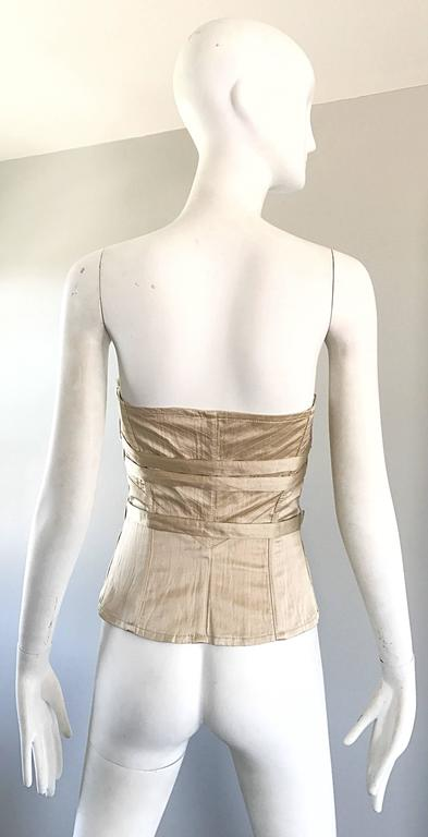 Women's NWT La Perla 1990s Champagne Silk Vintage 90s Quilted Bustier Corset Top For Sale