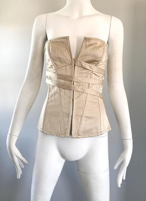 NWT La Perla 1990s Champagne Silk Vintage 90s Quilted Bustier Corset Top For Sale 1