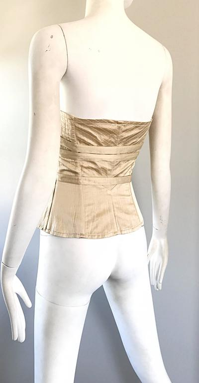 NWT La Perla 1990s Champagne Silk Vintage 90s Quilted Bustier Corset Top For Sale 2