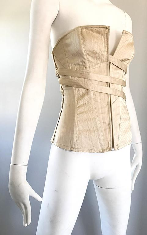 NWT La Perla 1990s Champagne Silk Vintage 90s Quilted Bustier Corset Top For Sale 3