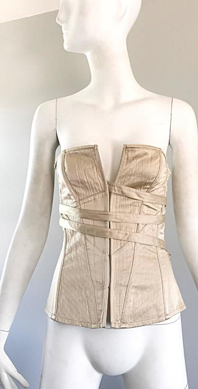 NWT La Perla 1990s Champagne Silk Vintage 90s Quilted Bustier Corset Top For Sale 4