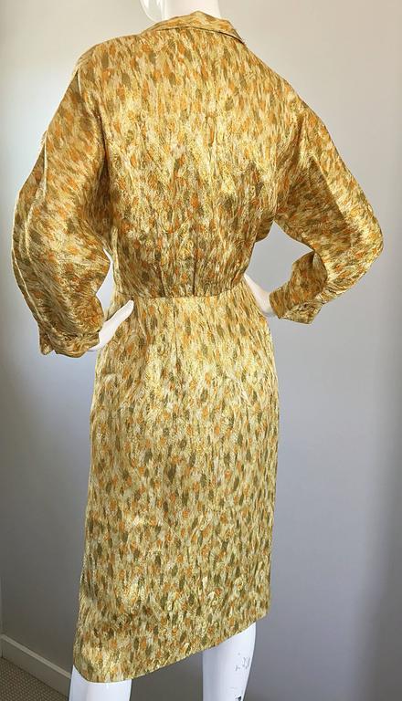 1950s Norma Morgan Gold Chartreuse Green Bronze Silk