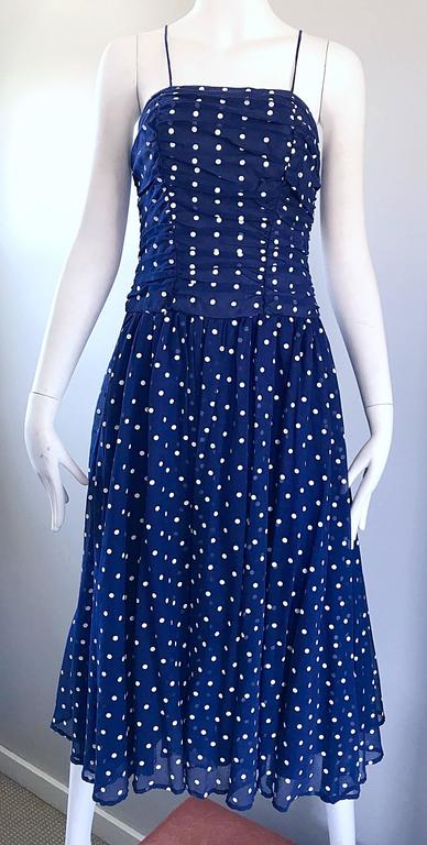 Chic Vintage Navy Blue and White Hand Painted Polka Dot Sleeveless Ruched Dress For Sale 1