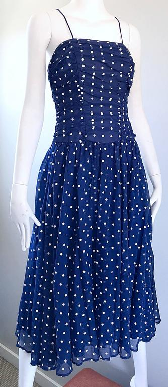 Chic Vintage Navy Blue and White Hand Painted Polka Dot Sleeveless Ruched Dress For Sale 2