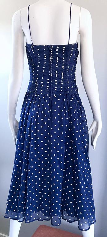 Chic Vintage Navy Blue and White Hand Painted Polka Dot Sleeveless Ruched Dress For Sale 4
